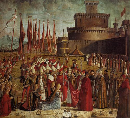 Vittore carpaccio, Pilgrims Meet the Pope 01.jpg